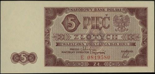 5 złotych 1.07.1948, seria E 0819580; Lucow 1246 (R3), ...