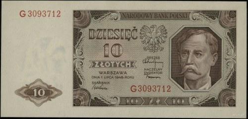 10 złotych 1.07.1948, seria G 3093712; Lucow 1253 (R2),...