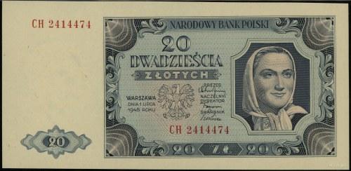 20 złotych 1.07.1948, seria CH 2414474; Lucow 1269 (R2)...