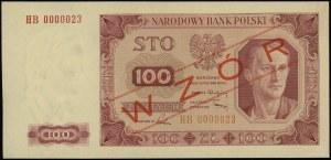 """100 złotych 1.07.1948, czerwony ukośny nadruk """"WZÓR"""", s..."""