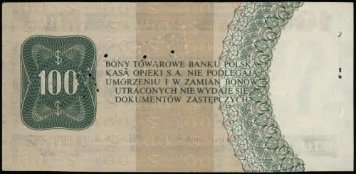 100 dolarów 1.10.1979, seria HK 0000000, perforacja WZÓ...