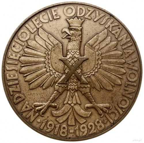 medal z 1928 r. autostwa T, Breyera, wybity na X-lecie ...