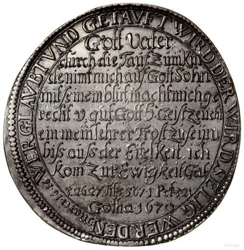 talar chrzcielny /tauftaler/ 1670, Gotha, moneta upamię...