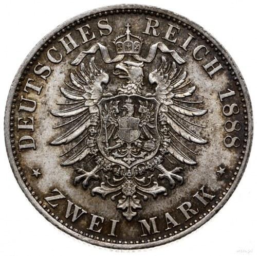 2 marki 1888 D, Monachium; AKS 203, Jaeger 43; nakład 1...