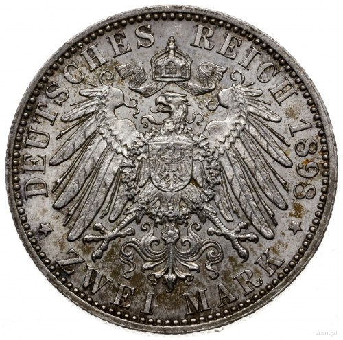 2 marki 1898 A, Berlin; AKS 39, Jaeger 156; nakład 100....