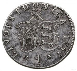 4 kopiejki 1757, Moskwa (Krasnyj Monetnyj Dwor); odmian...