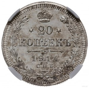 20 kopiejek 1914 BC, Petersburg; Bitkin 116, Kazakov 46...