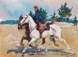 Wojciech KOSSAK (1856-1942), Ułan na koniu, 1916