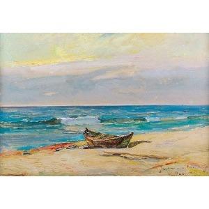 Wacław DAWIDOWSKI (1882-1962), Na brzegu morskim w Jastarni, 1935