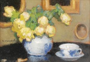 Alfons KARPIŃSKI (1875-1961), Róże w fajansowym wazonie