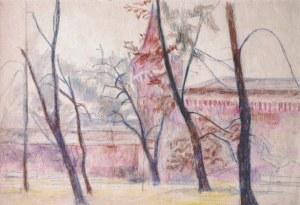 Stanisław Kamocki (1875 – 1944), Planty krakowskie wczesną wiosną – widok na basztę, ok. 1912