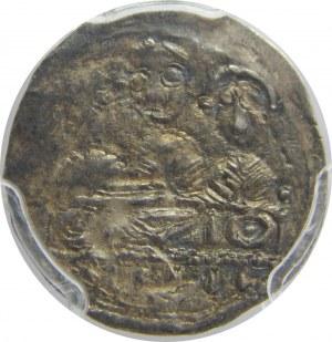 Bolesław IV Kędzierzawy, denar, PCGS MS62