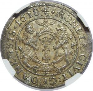 Zygmunt III Waza, Ort 1618, Gdańsk, NGC MS64