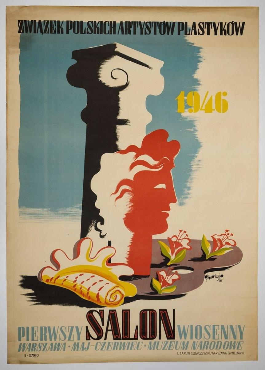 Plakat Związek Polskich Artystów Plastyków 1946 Pierwszy Salon Wiosenny