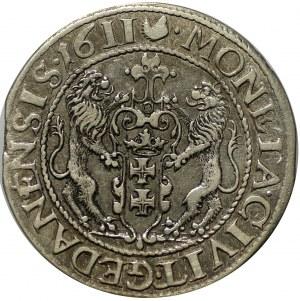ort 1611, Gdańsk, kropka za łapą niedźwiedzia i na bokach krzyża