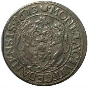 ort 1613, Gdańsk; kropka za łapą niedźwiedzia, kropki przy krzyżu nad herbem miasta;