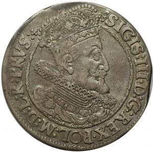 ort 1616, Gdańsk, popiersie króla z szeroką kryzą