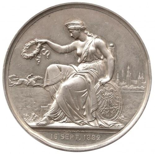medal pamiątkowy z 1887 r, autorstwa Weigand'a i Kullrich'a na 50-lecie Związku Jeździeckiego na Śląsku