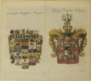 SAKSONIA/ POLSKA. Karta przedstawiająca herby Saksonii i Królestwa P ...