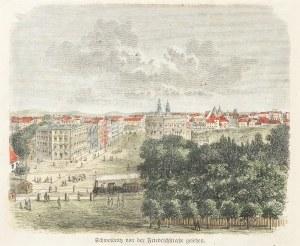 ŚWIDNICA. Widok miasta z dzisiejszą ul. Komunardów; anonim, 1884; d ...