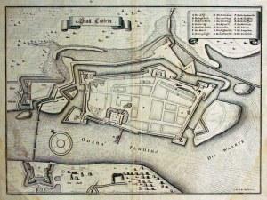 KOSTRZYN. Plan miasta, sygn. ryt. I.H.O.W., pochodzi z: Theatrum Europ ...