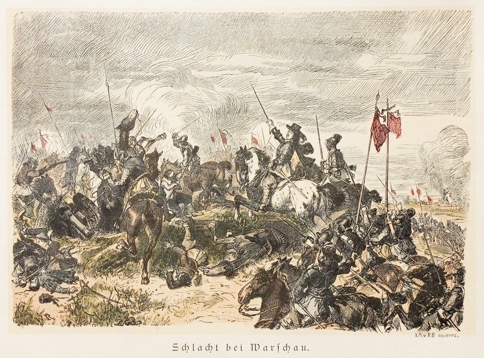 WARSZAWA. Scena z bitwy pod Warszawą w 1656 r., ryt. R.B. Roloffs, ok ...