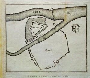 OPOLE. Plan obwarowań miasta i zamku, pochodzi z: Topographia Bohemia ...