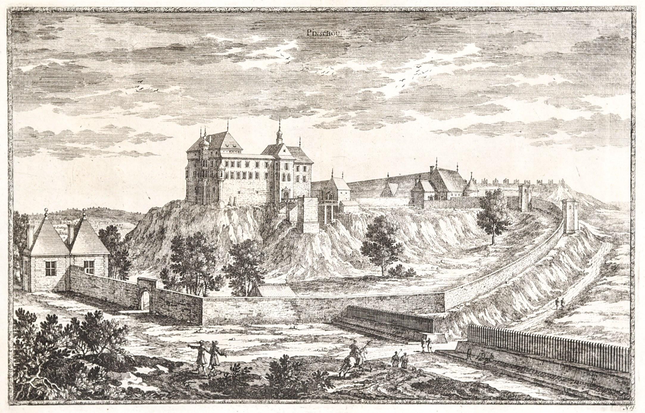 PIŃCZÓW. Widok na zamek, niesygn., według rys. Erika Jönssona Dahl ...