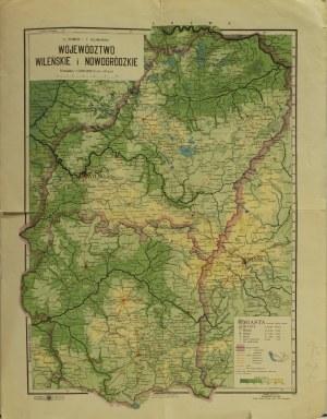 WILNO/ NOWOGRÓDEK; mapa dwóch województw wileńskiego i nowogródzk ...