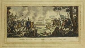 WIEDEŃ; widok pokazuje Jana III Sobieskiego w czasie bitwy pod Wiedni ...