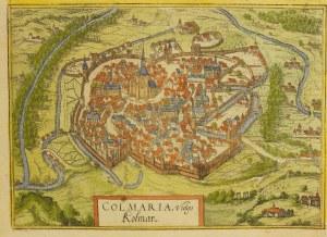 COLMAR; widok mięjscowości Colmar z lotu ptaka, pochodzi z Civitates ...