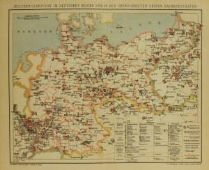 BERLIN, mapa przedstawiająca militarną dyslokację w Cesarstwie Niem ...