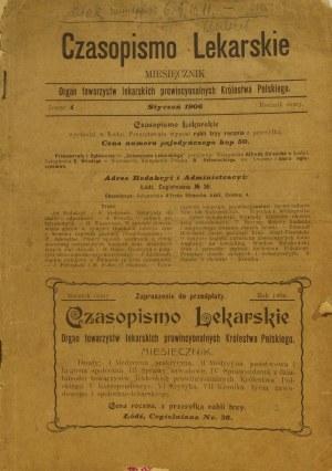 ŁÓDŹ; Czasopismo Lekarskie zeszyt 1, styczeń 1906; język polski;  ...