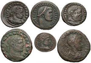 Brązy Cesarstwa, zestaw 6 sztuk, III-IV w.ne