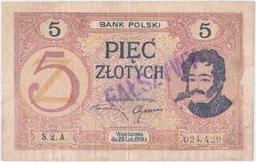 Falsyfikat z epoki 5 złotych 1919