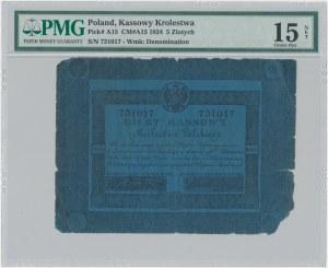 5 złotych 1824 - Małachowski / Stawowski - PMG 15 NET