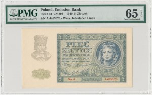 5 złotych 1940 - Ser.A - PMG 65 EPQ