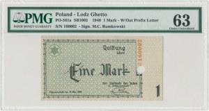 Getto 1 marka 1940 - bez serii, numeracja 6-cyfrowa, perforacja - PMG 63