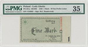 Getto 1 marka 1940 - bez serii, numeracja 7-cyfrowa - PMG 35