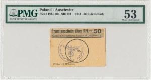 Auschwitz / Oświęcim, Obóz koncentracyjny, Bon premiowy 0.50 Reichsmark 1944 - PMG 53
