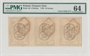 10 groszy 1794 - nierozcięte 3 szt. = złotówka - PMG 64