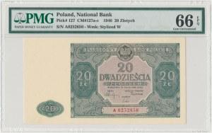 20 złotych 1946 - A - mała litera - PMG 66 EPQ