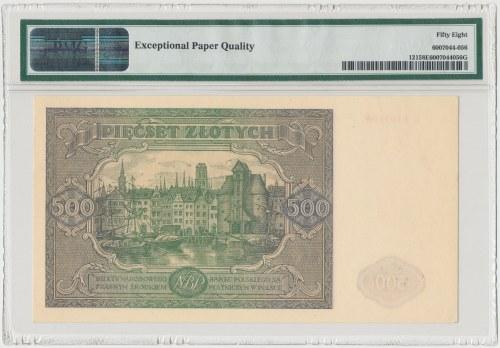 500 złotych 1946 - L - PMG 58 EPQ