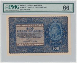 100 mkp 08.1919 - I SERJA D (Mił.27a) - PMG 66 EPQ