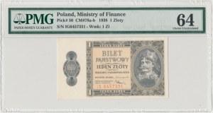 1 złoty 1938 Chrobry - IG - PMG 64