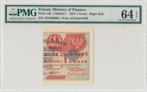 1 grosz 1924 - AX - prawa połowa - PMG 64 EPQ