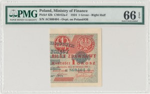 1 grosz 1924 - AC* - prawa połowa - PMG 66 EPQ
