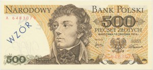 500 złotych 1974 - A - WZÓR / SPECIMEN - numeracja bieżąca - bez numeru wzoru