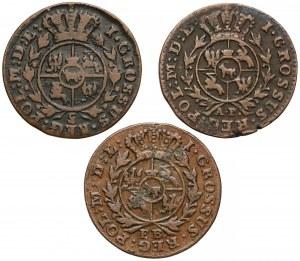 Poniatowski, Grosze 1772, 1773, 1777, zestaw (3szt)