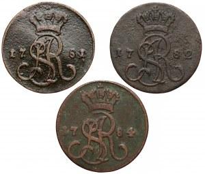 Poniatowski, Grosze 1781, 1782 i 1784, zestaw (3szt)